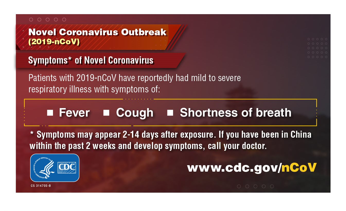 Coronavirus symptoms include fever, cough and shortness of breath
